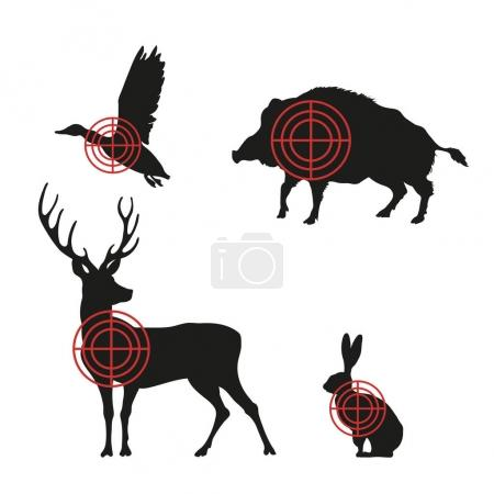 Targets with black silhouettes of animals on a white background. Hunting icons