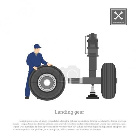 Repair and maintenance of aircraft. Engineer fix wheel on landing gear of airplane. Industrial drawing in a flat style