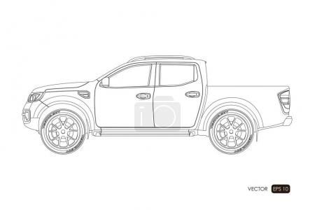 Blueprint of SUV. Contour drawing of car on a white background. Side view of pickup. The vehicle in outline style
