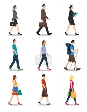 Illustration pour Vue latérale des hommes et des femmes marchant - image libre de droit