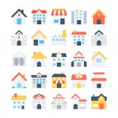 These Buildings Colored Vector Icons are great for real estate agencies and home insurance agencies adverts and promotional materials