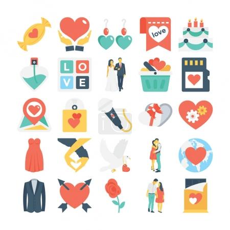 Valentines, Love, Romance, Marriage Vector Icons 6