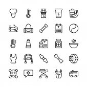 Medical Health and Fitness Line Vector Icons 19