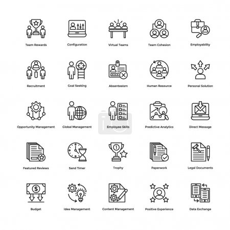 Illustration pour Cet ensemble d'icônes vectorielles de ligne de gestion de projet contient de telles icônes que vous pouvez utiliser dans vos projets de conception . - image libre de droit