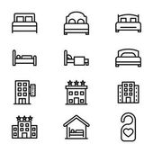 Bed Line Vector Icons Set