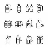 Set of Scuba Tanks Line Vector Icons