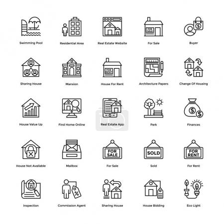 Real Estate Line Vector Icons Set 7