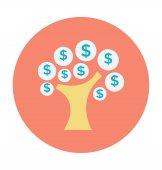Money Tree Colored Vector Icon
