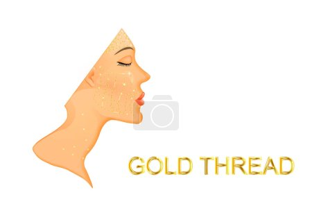 Illustration for Illustration of facial rejuvenation and neck with gold thread.before and afte - Royalty Free Image