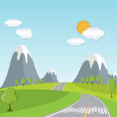 Spring or Summer Cartoon Landscape, with road trail leading towards horizon