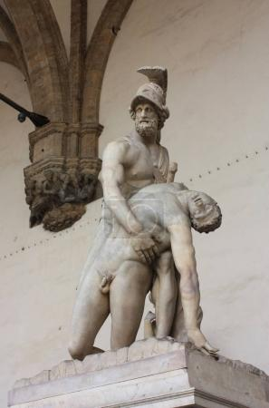 Sculpture Menelaus supports Patroclus's body  in L...