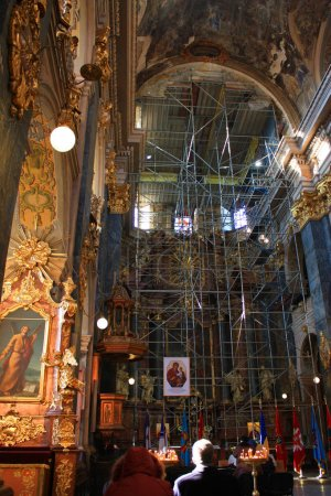 Interior of the Jesuit church of St. Peter and Paul in Lviv, Ukraine