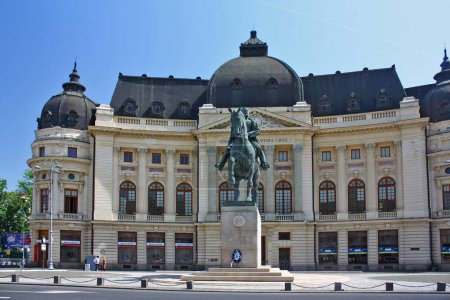 Library of Central University and monument of Carol I in Bucharest, Romania