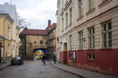 Tallinn, Estonia - January 3, 2018: The Great Sea Gate and Estonian Maritime Museum in Old Town of Tallinn, Estonia
