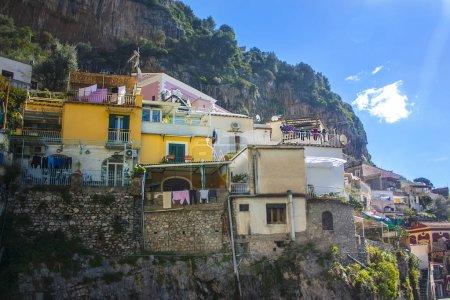 Positano, Italy - March 6, 2018: Mountain landscapes of the Amalfi coast