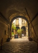 Naples, Italy - March 5, 2018: Typical Italian square courtyard in Naples