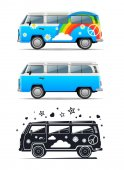 Classic vintage hippie van Vector illustration Peace and Love