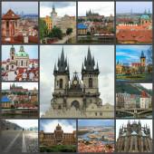 Beautiful landscape of the city of Prague, Czech Republic. Old city collage.