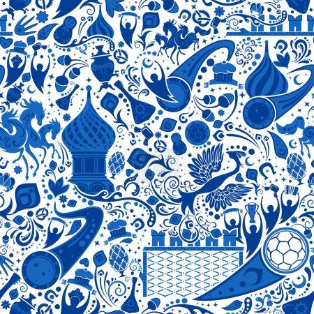Russian gzel seamless pattern, vector illustration
