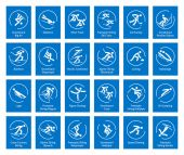 Winter sports icons set vector pictograms