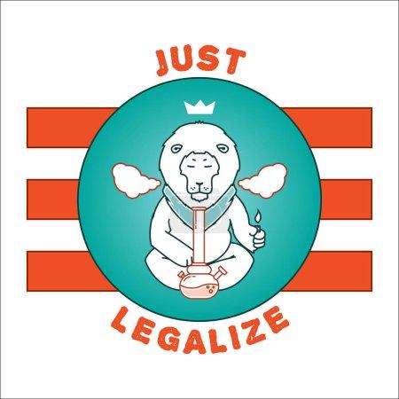 Illustration pour Affiche vectorielle - légalisez. Les animaux fument de la marijuana. Bon pour la conception de cartes postales, matériaux imprimés, peut-être c'est logo pour votre propre étiquette. J'espère que ça vous plaira . - image libre de droit