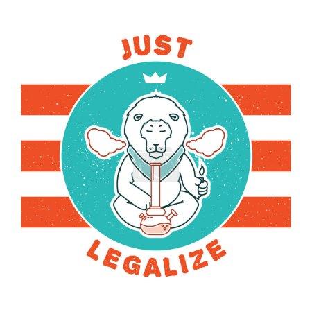 Illustration pour Affiche vectorielle - légalisez simplement les séries. Les animaux fument de la marijuana. Bon pour la conception de cartes postales, matériaux imprimés, peut-être c'est logo pour votre propre étiquette. J'espère que ça vous plaira . - image libre de droit
