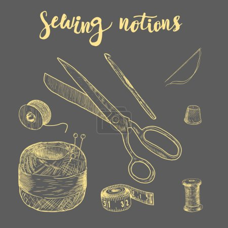 Illustration pour Des notions de couture. Fil dessiné à la main, aiguille, ciseaux, boule de fil, aiguilles à tricoter, crochet. Illustration vectorielle - image libre de droit