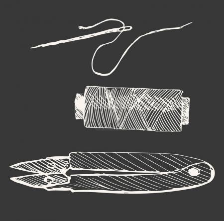 Illustration pour Notions de couture dans le style graphique illustration vectorielle dessinée à la main . - image libre de droit