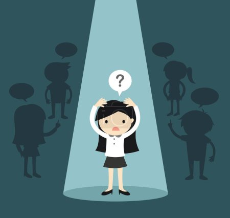 Business concept, Business woman standing alone in spotlight and feeling confused. Vector illustration.