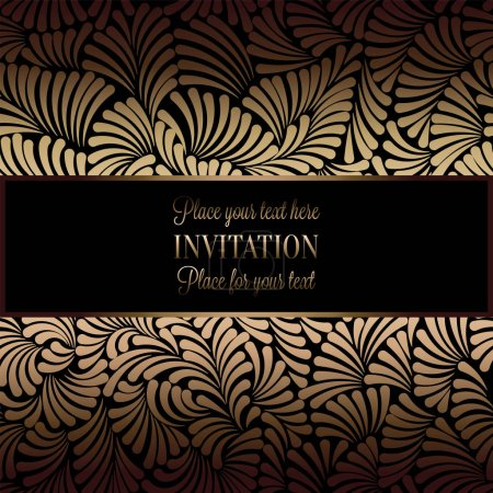 Illustration for Abstract background with antique, luxury black and gold vintage frame, victorian banner, damask floral wallpaper ornaments, invitation card, baroque style booklet, fashion pattern, template for design. - Royalty Free Image
