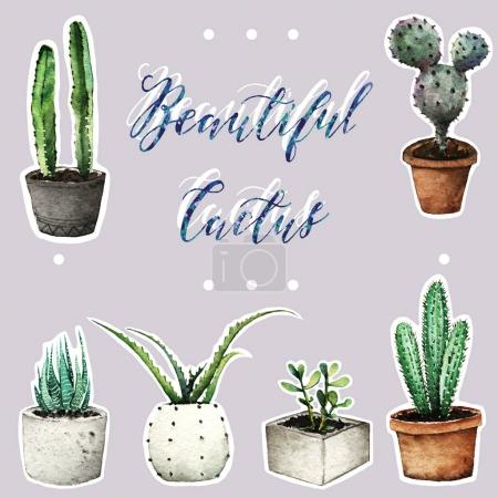Photo for Cactus in pots, Watercolor illustration, set. background, handmade, postcard for you, seamless pattern - Royalty Free Image