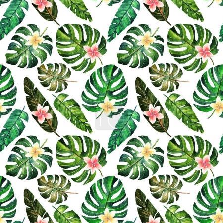 Photo pour Illustration aquarelle. L'été tropicale, différentes feuilles, fait main, lancé. Belle carte postale pour vous. Arrière-plan - image libre de droit