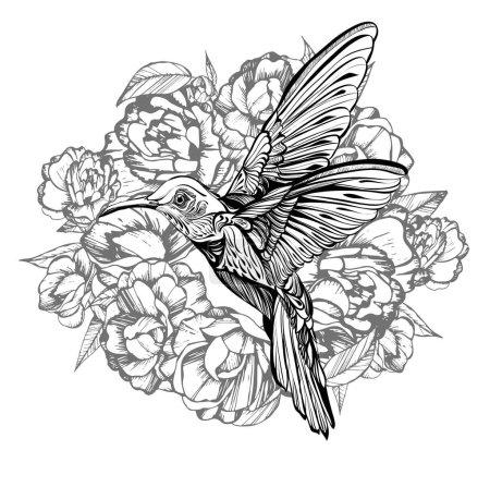 Illustration for Hummingbird, flight. drawing.handmade.Vector illustration, flowers - Royalty Free Image