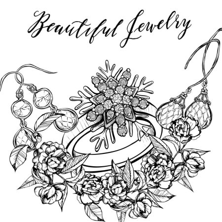 Jewelry, fashion illustration