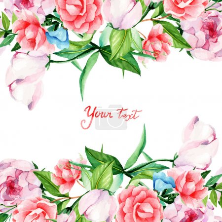 Illustration for Card for you, handmade, watercolor, flowers arrangement, flowers, buds, peonies, camellias, Proteus, the frame on the left side. - Royalty Free Image