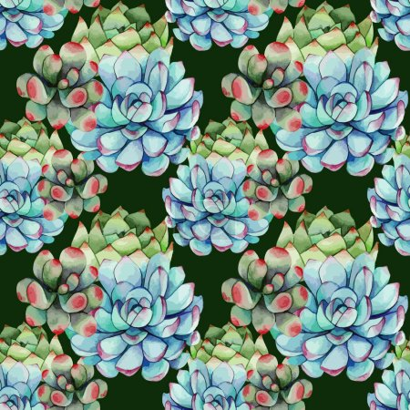 Succulents watercolor pattern