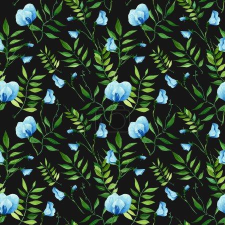 Watercolor, handmade flowers pattern