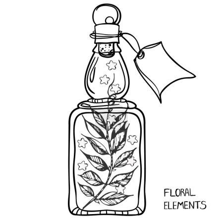 Glass Bottle.Sweet peas