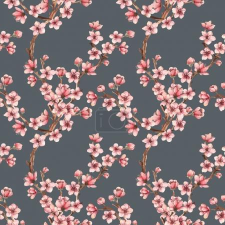 Illustration for Cherry blossom, spring flowers watercolor illustration, branches, flowers, card for you - Royalty Free Image