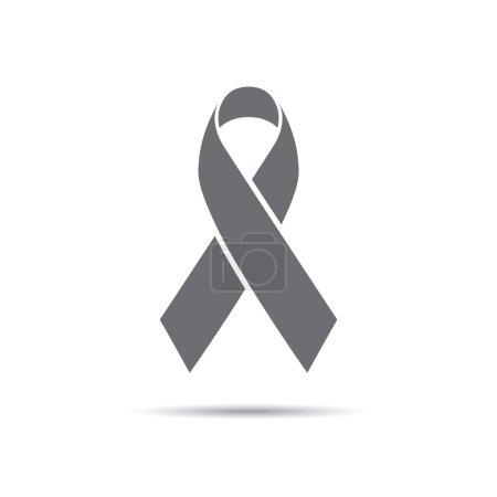 Illustration for Black Awareness ribbon. Mourning and melanoma symbol - Royalty Free Image