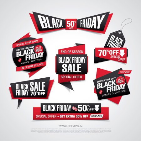 Illustration for Black friday sale labels set, vector illustration - Royalty Free Image