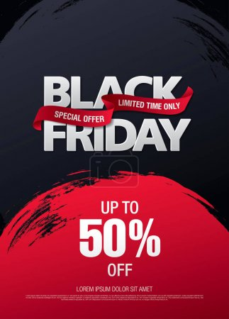 Illustration for Black friday sale banner, vector illustration - Royalty Free Image