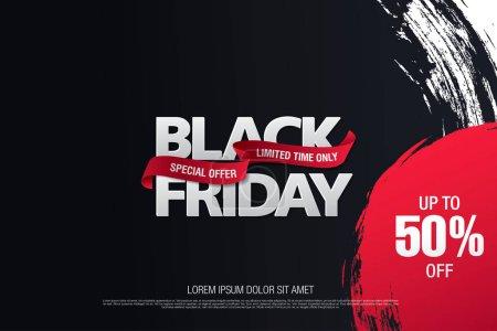 Illustration pour Bannière de vente vendredi noir, illustration vectorielle - image libre de droit