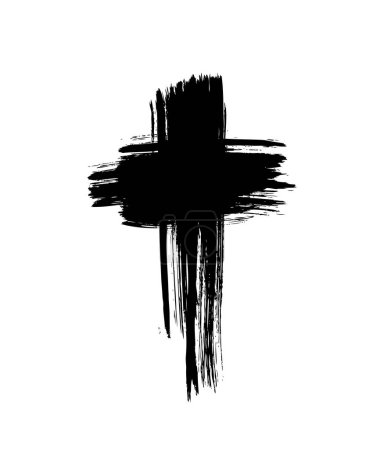 Illustration for Brush painted black cross, vector illustration - Royalty Free Image