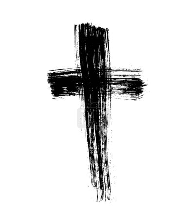 Brush painted black cross, vector illustration...