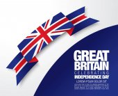 Flag of Great Britain card template vector illustration on bright background and copy space banner placardposter for design