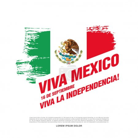 Illustration pour Viva Mexico ! 16 septembre. Bannière de jour de l'indépendance heureuse - image libre de droit