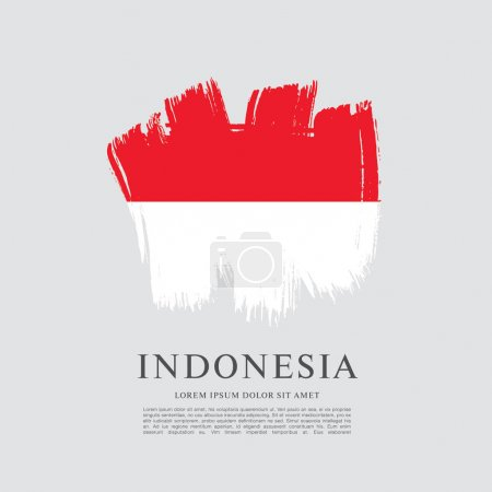 Flag of Indonesia banner, brush stroke background,...