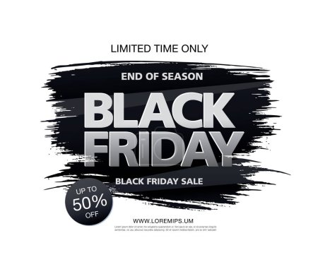 Illustration for Sale banner for black friday isolated on white background, vector, illustration - Royalty Free Image