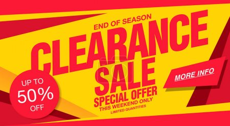 Illustration for Colorful sale banner for clearance with cut-price - Royalty Free Image